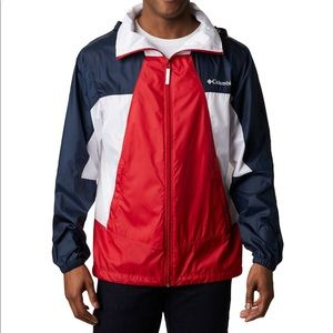 NWT Columbia Point Park Windbreaker Red Blue Large